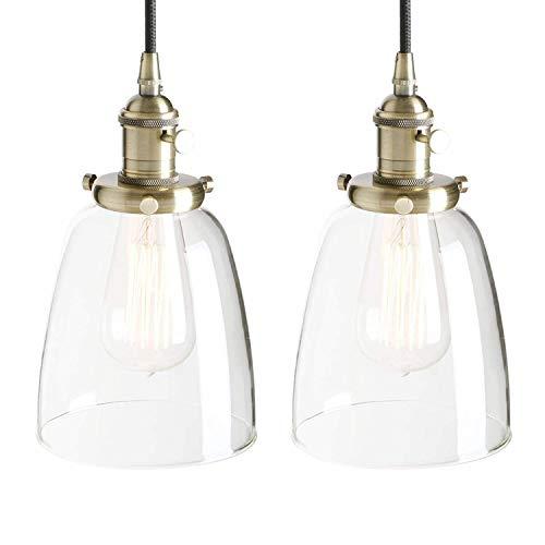 Dightyoho Iluminación Colgante Candelabro Ara?a Retro Lámpara Colgante Edison Cobre Enchufe para candelabro Iluminación Decorativa Lámpara de Vidrio Campana (Color:Negro) Moderno (Color : Bronze)