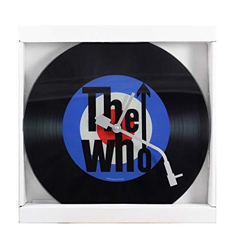 P:os 76878069 - The Who Wanduhr im Schallplatten Design, Ziffernblatt in Vinyl - Optik, Zeiger wie der Tonarm eines Plattenspielers, Durchmesser ca. 30 cm, batteriebetrieben