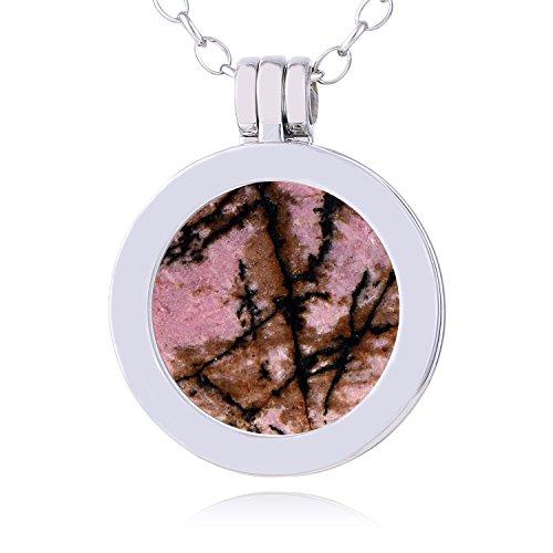 Morella Damen Halskette 70 cm Edelstahl und Anhänger mit Edelstein Rhodonit SMALL Coin 23 mm Chakren Scheibe in Schmuckbeutel
