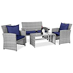 MODULAR FURNITURE SET: This versatile furniture set features a table, one double sofa, and two single sofas to provide four seats that can be mixed & matched to your sitting space DURABLE MATERIALS: All-weather wicker is handwoven over a steel frame ...