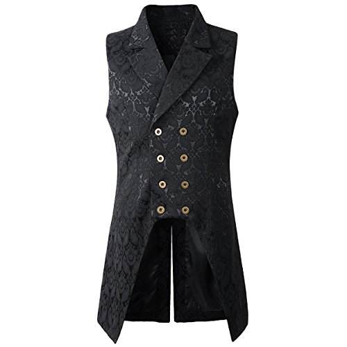 Nofonda Mens Gothic Steampunk Double Breasted Vest Brocade Waistcoat Tailcoat Vest VTG (Black, Small) steampunk buy now online