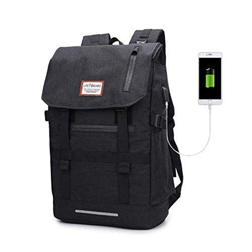 Deformable Classic School Bag, Unisex College Rucksack, School Backpack, Lightweight Daypack with USB Charging Port for Laptop, Books, Business,Travel, Hiking, Camping,Black