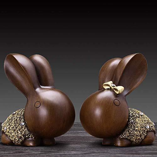 Escultura de escritorio Escultura Animal Conejo estatua de la resina de escritorio decoración del ornamento de la sala de café Tabla Resumen Crafts gabinete del vino Set de 2 unidades de 17 * 10 * 19c