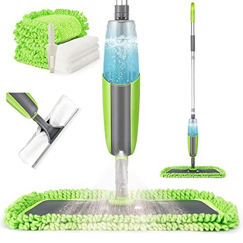 Tencoz Spray Mop Lavapavimenti, Mocio con Spruzzatore, Mocio in Microfibra Lavapavimenti a Spruzzo Professionale 360° Rotazione con 4 Mop Pads e Spazzolone per Finestra, Pavimento, Piastrelle, Marmo