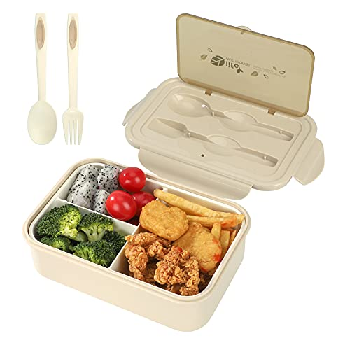 Caja de Bento, Fiambrera Infantil 1400ml Almuerzo de Trigo Bento Box a Prueba de Fugas con 3 Compartimentos y Cubiertos, Almuerzo y Bocadillos para Niños y Adultos (Beige)