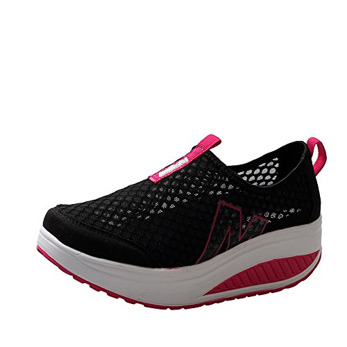 BHYDRY Moda Sneaker Donna Platform Scarpe Donna Mocassini Traspirante Air Mesh Swing Zeppe Scarpa(37 EU,Nero-A)
