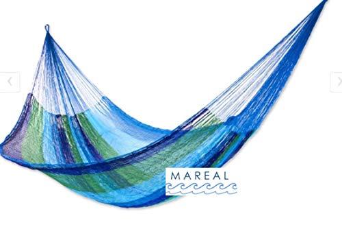 MAREAL Hamaca Hecha a Mano Estilo Maya, Yucatan, Tejido Fino, Nylon Tamaño STD 2.20 X 4.00 M (Incluye Cuerdas y Ganchos) ST N Color Cruise Azul y Verd