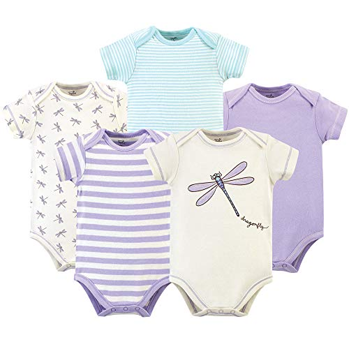 Touched by Nature Baby Organic Cotton Bodysuits, Dragonfly 5-Pack, 0-3 Months