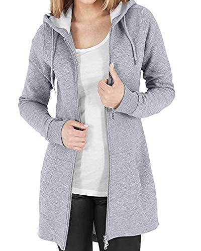 Kidsform Damen Hoodie Langarm Pullover Kapuzenpulli Outwear Kapuzenjacke Sweatshirt Jacken Grau XL