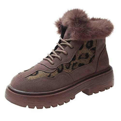 New Dainzuy Winter Snow Boots for Women Leopard Comfortable Round Toe Warm Plush Lining Platform Win...