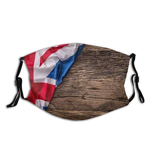 Mundschutz Union Jack, Flagge des Vereinigten Königreichs auf altem Eichenholzbrett englische Nation Land Großbritannien waschbare und Wiederverwendbare Gesichtsbedeckung mit Filter