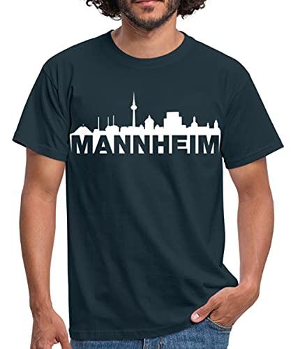 Spreadshirt Mannheim Skyline Weiss Männer T-Shirt, S, Navy