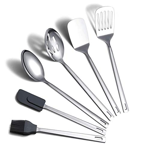 Cooking Spoon, Berglander 6 Pieces Spatula Set Stainless Steel, Metal Spatula, Serving Spoon, Kitchen Tools Set Non-Stick And Heat Resistant, Dishwasher Safe, Easy to Clean (6 Packs)