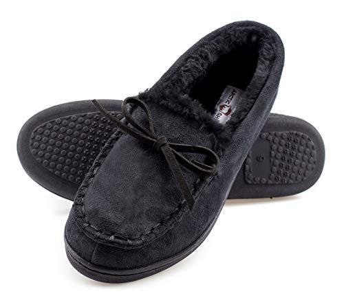ArcticShield Women's Memory Foam Indoor/Outdoor Durable Comfort Slip On Plush Fur Moccasin Slippers (11 (M) US Women's, Black)