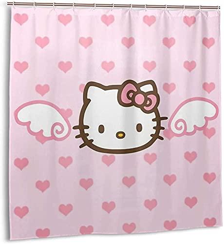 Hello-Kitty Duschvorhang Badezimmer Dekor Exquisite Schimmelresistent Wasserdicht Extra Lang Badvorhang mit 12 Kunststoffhaken
