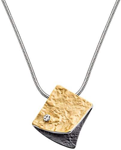 Perlkönig Schlangen Kette Halskette | Damen Frauen | Viereck in Schwarz Gold | Glitzer Stein| Karabiner | Nickelabgabefrei