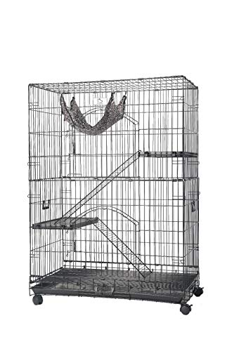 """Homey Pet Folding Wire Cat Ferret Chinchilla Crate with Casters,Tray and Hammock (36"""")"""