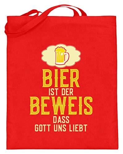 SPIRITSHIRTSHOP Bier is het bewijs dat God ons lieft. - Bessen, drinken, sauzen, bierzuur, alcoholische dranken - jute zak (met lange handvatten)