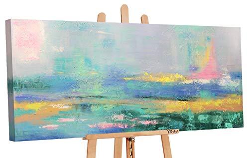 YS-Art | Acryl Gemälde Aquarelle | Handgemalte Leinwand Bilder | 115x50cm | Wandbild Acrylgemälde | Moderne Kunst | Leinwand | Unikat | Grün