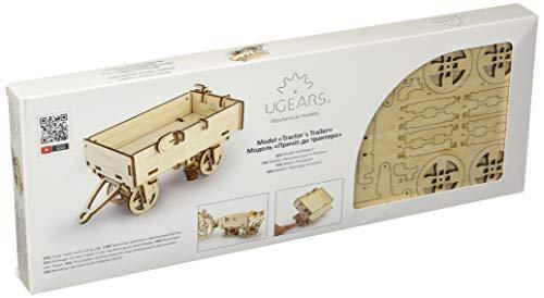 Ugears 70006 - Trailer para Remolque de Tractor, Kit de construcción de Madera 3D sin Pegamento