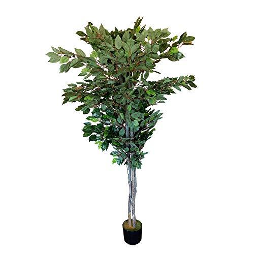 Wellhome Planta Ficus Verde Artificial de 180 cm de Altura con Maceta