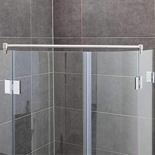 Stabilisationsstange für Eck-Duschen, Haltestange Glas-Glas, Stabilisator Runddusche (100cm, Edelstahl)