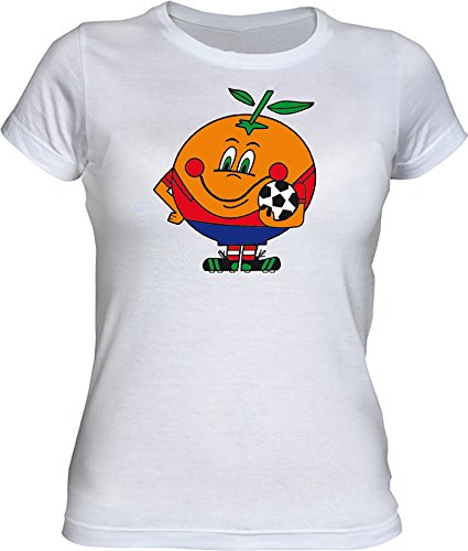Camiseta Naranjito Chica EGB ochenteras 80´s Retro (S, Blanco)