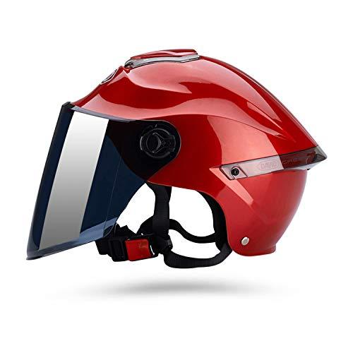 Galatée Casco de motocicleta con visera, adecuado para ciclomotores, scooters, cruceros, pase la prueba de colisión para cumplir con la seguridad vial(Rojo, Lente marrón)