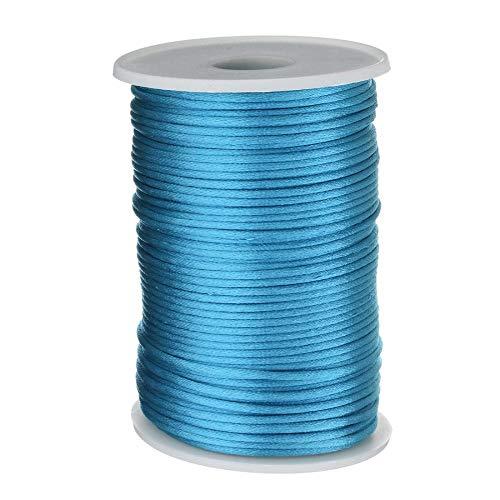 Cordón de nailon trenzado de 2 mm de diferentes colores para manualidades, pulseras, joyas, decoración Azul Océano