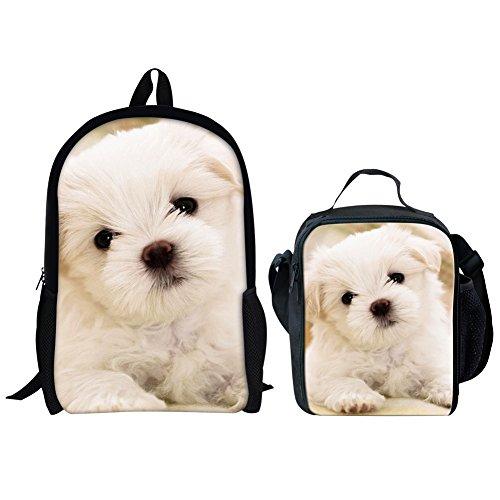 HUGS IDEA 2 Pcs Cute Kids Backpack School Set Bichon Frise Dog Printing Schoobag with Lunch Bag for Girls