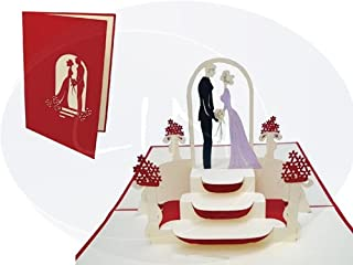 Lin Pop Up Cards Wedding Card, Wedding Invitations bride and groom at wedding, valentine's Day Cards 3D Greeting Cards Gre...