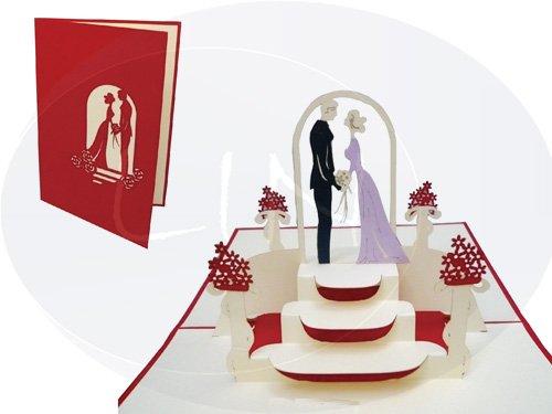 Lin de Pop up Cartes de mariage mariage cartes, invitations Valentin Cartes cartes 3D Cartes de vœux Félicitations cartes de mariage amour, Couple de mariés dans Mariage Rouge