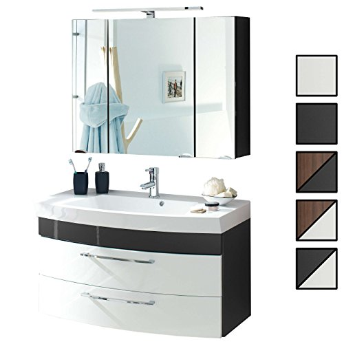 Badmöbel-Set VERONA Small Anthrazit Weiß 2-tlg, Spiegelschrank 90 cm LED beleuchtet, Badezimmer Waschplatz 100 cm mit 2 Schubladen (Waschbecken Waschtisch-Unterschrank)