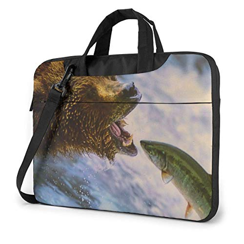 Laptop Tote Bag, Bear Catching Fish Shockproof Carrying Briefcase Sleeve with Handle for 13-15.6in Laptop for Women