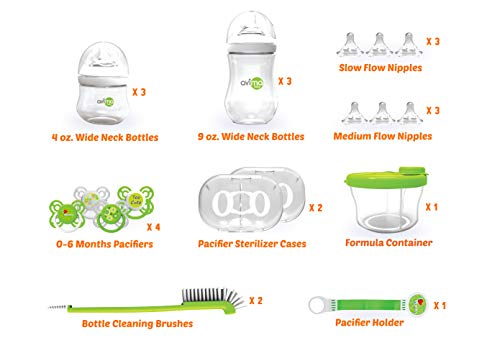 Avima Newborn Baby Bottle Starter Set. Anti-Colic Wide Neck Bottles with Slow and Medium Flow Nipples. 22 Piece Set