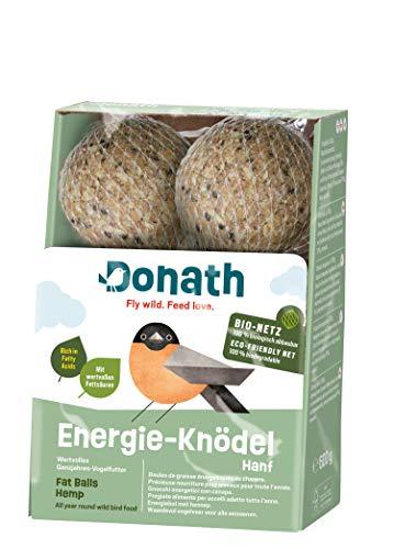 Donath Energie-Knödel Hanf, im BIO-Netz - 6 Meisenknödel im Bio-Netz (6 x 100g) - mit wertvollen Fettsäuren - wertvolles Ganzjahres Wildvogelfutter - aus unserer Manufaktur in Süddeutschland