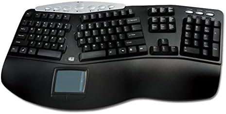 Adesso PCK-308B - 105Key PS2 Tru-Form Pro Ergonomic Touchpad Keyboard Black with Multimedia Hotkeys