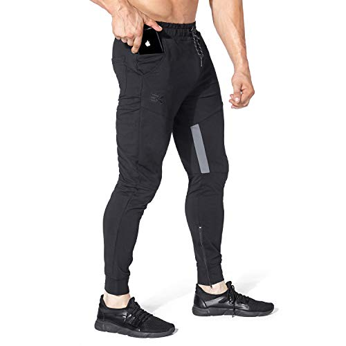 BROKIG Mens Thigh Mesh Gym Jogger Pants, Men's Casual Silm Fit Workout Bodybuilding Sweatpants with Zipper Pockets (Black,XL)