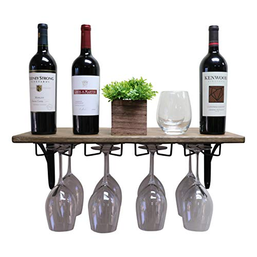 SDI Designs Handmade Wall Mounted Wine Glass Rack Floating Shelf, Wine and Liquor Storage Shelf, The Luxe, Weathered and Stained Collections (24 inch, Barnwood Brown)