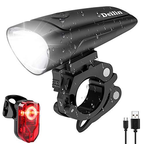 Deilin LED Fahrradlicht Set, 2 Licht-Modi Fahrradlampe Zugelassen Fahrradbeleuchtung, USB Aufladbar Fahrradlicht Vorne Rücklicht Set, IPX5 Wasserdicht Fahrrad Licht für Radfahren, Camping usw.