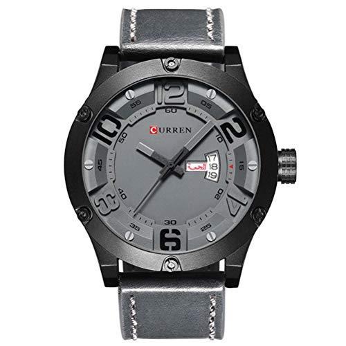 Men's Wrist Watches,Men Leather Strap Military Watches Men's Waterproof Chronograph Sport Quartz Wristwatch Best Men's Watch Gifts