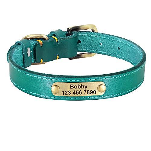 Correas para Perros Collar de Cuero Personalizado para Perros Collar de identificación para Mascotas con Hebilla Dorada de Cuero para Perros pequeños, medianos y Grandes-Azul_XS