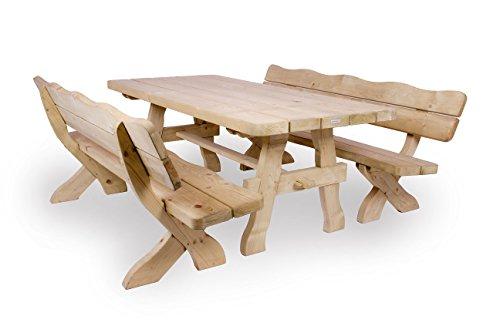 Gartenmöbel Set 200 cm, Gartentisch und 2 Gartenbänke, ländliche, rustikale Gartenmöbel
