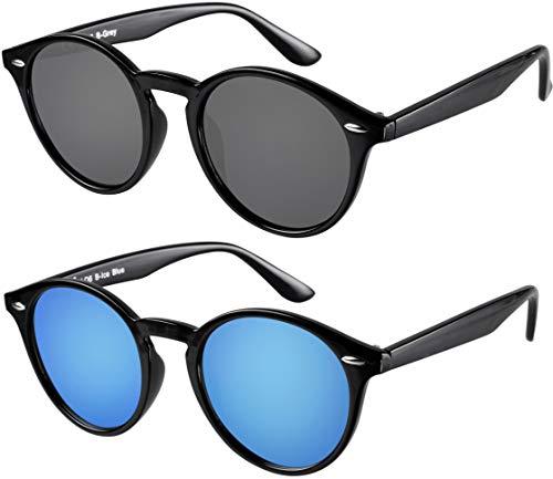 Sonnenbrille Herren Damen La Optica UV400 CAT 3 Retro Vintage Hippie Rund Round - Set Glänzend Schwarz (1 x Grau, 1 x Türkis Blau Verspiegelt)