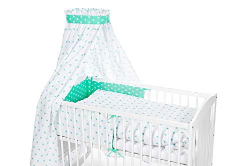 Niuxen VH-05 Bettset 135x100 Bettwäsche für Babybett, Kinderbett - 6 Teile Inkl. Nestchen, Himmelset (ohne Bett), Design: Sternchen weiß-mint