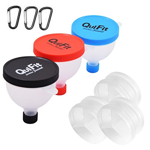 QuiFit Fill N Go Funnel&Protein Powder Funnel - Water Bottle Funnel- Protein Storage Box & Supplement Container for Shakers (3)
