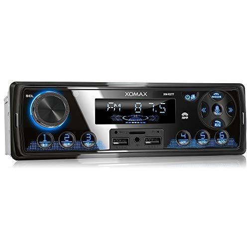 XOMAX XM-R277 Autoradio mit Bluetooth Freisprecheinrichtung, FM, 7 Beleuchtungsfarben, Handy Aufladen über 2. USB-Anschluss, USB, SD, MP3, AUX-IN, 1 DIN