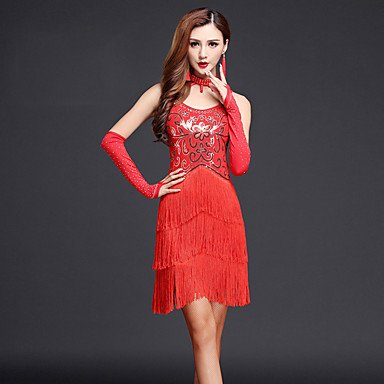 kekafu Wir Latin Dance Kleider Frauen Performance 4 Stück Kleid, Handschuhe, Rot, M