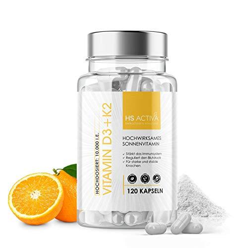 Vitamin D3 + K2 I Inklusive Vitamin C + Vitamin E I hochdosiert I 10.000 IE I Vegan und ohne Zusatzstoffe I 120 Kapseln