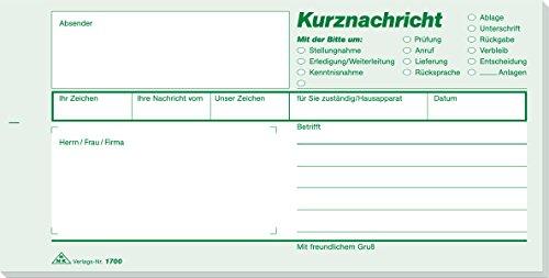 RNK 1700 Kurznachricht - Block, 100 Blatt, Maße (BxH): 210 x 105 mm